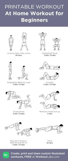 free online weight loss programs, good diet to lose weight, how to lose my belly fat fast - At Home Full Body Workout for Beginners (Men) from WorkoutLabs.com • Click through to download as printable PDF! #customworkout