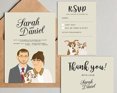 Quirky save the date. Personalized Wedding invitation with custom portraits. Save the date, RSVP, Thank you card. Creative Wedding Invitations, Personalised Wedding Invitations, Wedding Invitation Sets, Printable Invitations, Personalized Wedding, Invites, Gifts For Wedding Party, Wedding Cards, Wedding Favors