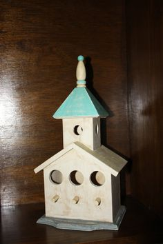 Wooden Birdhouse ChurchDistressed Upcycled and by PaintingPirates, $25.00