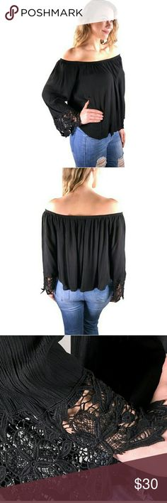 ✔weekend sale ✔Plus off-the-shoulder neckline top 100% Rayon  Black  Tops Blouses