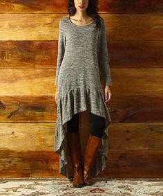 Look what I found on #zulily! Oatmeal Melange Ruffle-Hem Hi-Low Dress #zulilyfinds