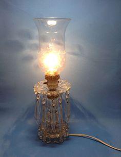 Vintage Etched Crystal Boudior Hurricane Bedside Mantel Lamp Prisms...going..going..it's gone!