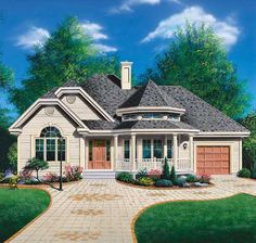 Traditional Style House Plans - 1191 Square Foot Home , 1 Story, 2 Bedroom and 1 Bath, 1 Garage Stalls by Monster House Plans - Plan 5-200