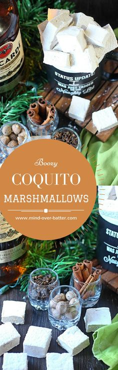 Make your hot chocolate super festive with these coquito marshmallows! With warm spices, coconut flavors, and a great dose of dark rum - You'll float these in your hot chocolate every day 'till January! http://www.mind-over-batter.com