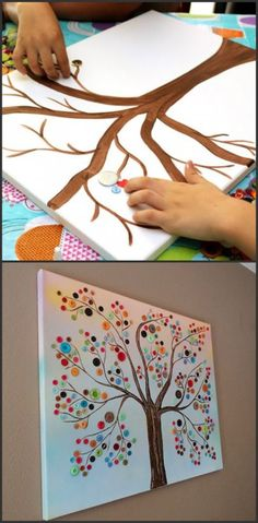 Check out this DIY button tree All you need is * A canvas * Acrylic paints * G. - Check out this DIY button tree All you need is * A canvas * Acrylic paints * Glue * Buttons of var - Button Tree Art, Button Art On Canvas, Buttons On Canvas, Diy Crafts To Sell, Diy Crafts For Kids, Art For Kids, Painting Ideas For Kids, Button Crafts For Kids, Sell Diy
