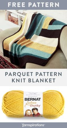 Free Parquet Knit Blanket pattern using Bernat Softee Chunky yarn. Worked in simple garter stitch, this colorful blanket is a modern take on the classic parquet pattern. You'll practice the log-cabin technique and picking up stitches to create this satisfying project. #yarnspirations #freeknitpattern #knitblanket #hexagonblanket #bernatyarn #bernatsofteechunky #chunkyyarn Finger Knitting, Loom Knitting, Knitting Ideas, Knitting Patterns Free, Free Knitting, Baby Knitting, Crochet Patterns, Bernat Softee Chunky Yarn, Bernat Yarn