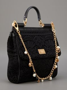 Dolce & Gabbana lace tote bag DIY by adding some chain, pearls, and lace