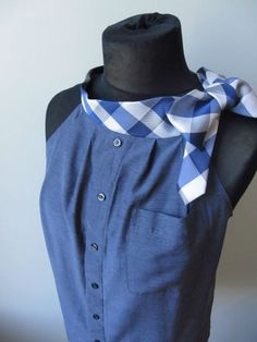 Upcycled Clothing / Blue Boyfriend Halter Top with Necktie Collar / Women Tops Tank / made from mens shirt and neckties / Prepster Diy Clothing, Sewing Clothes, Funky Clothing, Dyi Couture, Diy Kleidung Upcycling, Umgestaltete Shirts, Shirt Refashion, Cycling Outfit, Mannequins