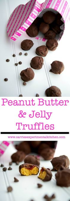 these Peanut Butter & Jelly Truffles made from creamy peanut butter ...