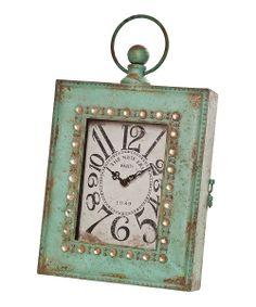 Sage & Crème Rectangular Pocket Watch Standing Clock
