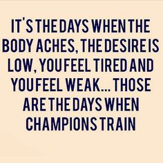 Ugh today I am training to be a champion because after three days of…