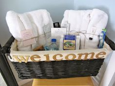 I saw the idea to have a basket for your guest room to use, what a great idea! We're going to implementing this in our guest room too using travel sized items and other luxuries in our future guest room when we're married <3
