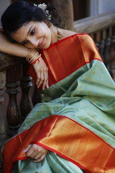 Beautiful Kanjivaram Reach Peace Silk Saree With lovely Gold Zari  Weaving Wedding Bridal saree with blouse