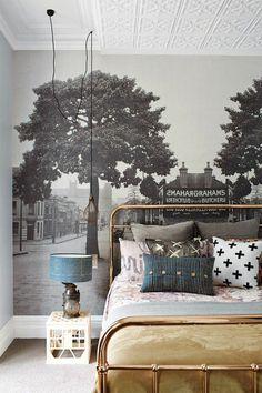 fototapete schlafzimmer schwarz weiß foto