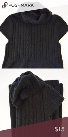 """S W E A T E R  D R E S S Adorable black sweater dress with draped turtleneck neckline. Rarely worn. Length: 33"""" laying flat. Chest: 15"""" armpit to armpit. Dresses"""