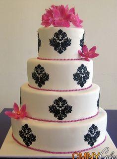 Black Damask and Fuchsia Wedding Cake