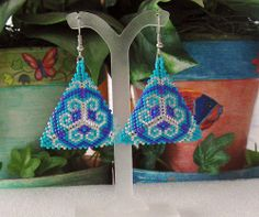 Beaded Boho Triangle Earrings In Silver, Lavendar, and Turquoise on Wanelo