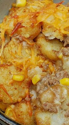 Cowboy Casserole ~ Its comfort food on a fork Beef Recipes For Dinner, Ground Beef Recipes, Crockpot Recipes, Dog Food Recipes, Cooking Recipes, Hamburger Recipes, Yummy Recipes, Hamburger Dishes, Supper Recipes