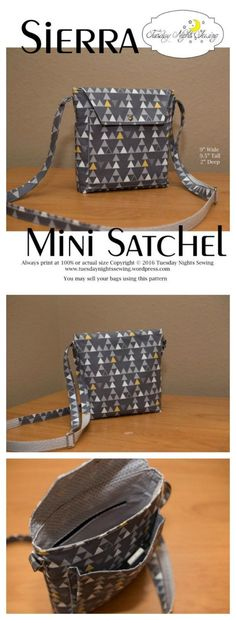 If you want a great medium sized crossbody bag that fits all your everyday needs then you can download here the pattern for the Sierra Mini Satchel. The Sierra Mini Satchel has the following features: a front cargo pocket, an interior zipper pocket, a fla
