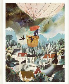 Adelina Lirius - On a voyage 🎈 Balloon Illustration, Landscape Illustration, Children's Book Illustration, Pot Pourri, Art Drawings, Drawing Art, Illustrations Posters, Illustrators, Book Art