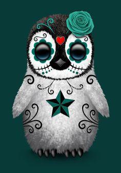 Teal Blue Day of the Dead Sugar Skull Penguin | Jeff Bartels