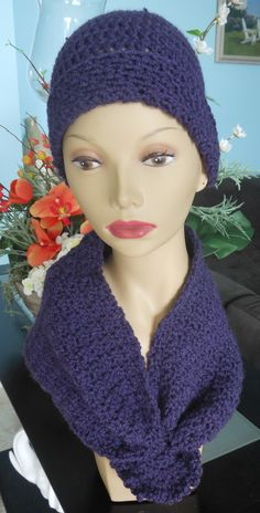 Made in soft acrylic hand crochet rolled beanie hat with matching neck scarf - slip-thru front closure
