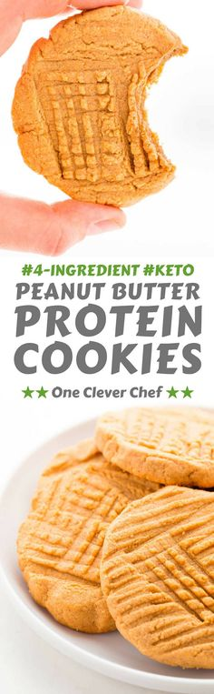 These healthy peanut butter protein cookies are made with only 4 simple ingredients and one bowl. Gluten-free, keto, low-carb and flourless. Peanut Butter Protein Cookies, Healthy Peanut Butter, Keto Cookies, Gluten Free Cookies, Healthy Cookies, Keto Friendly Desserts, Low Carb Desserts, Low Carb Recipes, Real Food Recipes