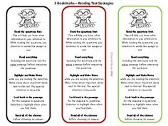 These bookmarks remind your students of 5 helpful testing strategies that they can use to help them succeed on the reading test and 4 helpful strat. Reading Test, Teaching Reading, Teaching Tools, Teaching Time, Close Reading, Free Reading, Learning, Teaching Ideas, Test Taking Skills