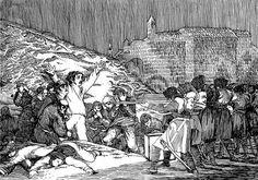 """Ilustración sobre la pintura de Francisco de Goya """"Los Fusilamientos del 3 de Mayo en Madrid"""" Tinta con Rotring"""
