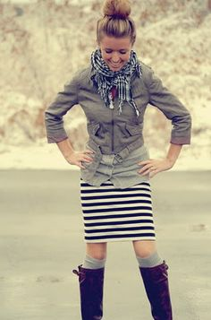 One of the few outfits I would actually wear that includes a skirt. Striped of course.