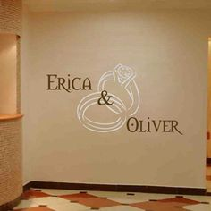 DIY Wall Decal -- Personalized Wedding Monograms -- Names and Rings