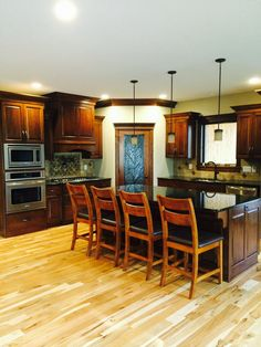 Hickory Floor With Cherry Cabinets Pics1 | House ...