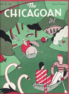 The Chicagoan - July 1927 New Yorker Covers, The New Yorker, Magazine Illustration, Illustration Art, Illustrations, Vintage Graphic Design, Vintage Designs, Magazine Art, Magazine Covers
