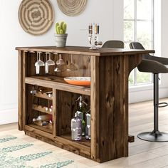 Loon Peak Abella Deluxe Bar with Foot Rail Color: Stained and Lacquered Basement Bar Designs, Home Bar Designs, Rustic Basement Bar, Bar For Basement, Basement Ideas, Finished Basement Bars, Basement Plans, Diy Home Bar, Bars For Home