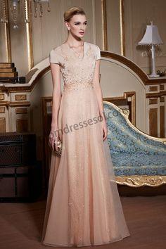 Champagne Luxurious Short Sleeve V-Neck Beaded Ball Dress BE255