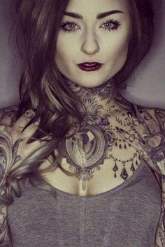 Ryan Ashley Malarkey Josh's girlfriend or ex. I'm not sure - Trend Tattoo Styles Throat Tattoo, Chest Tattoo Girl, Tattoos, Chest Neck Tattoo, Neck Tattoo, Body Art Tattoos, Tattoo Models, Cool Tattoos, Tattooed Girls Models