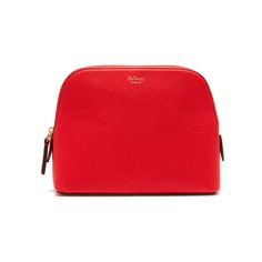 Shop the Cosmetic Pouch in Fiery Red Small Classic Grain at Mulberry.com. Keep all beauty essentials close to hand with this classic leather cosmetics pouch. The zip closure will keep your essentials safe, whilst the inside is beautifully PU lined, so the inside can be easily cleaned.