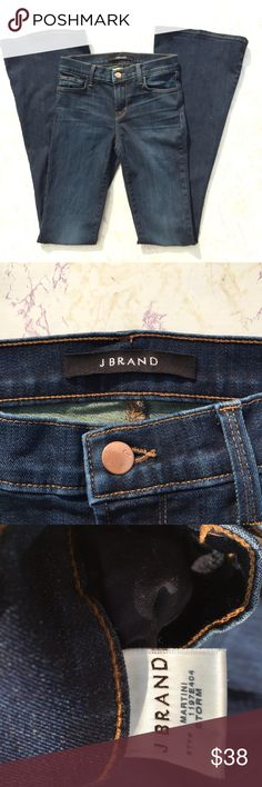 {J Brand} Martini Skinny Flare Denim Jeans Trendy and Cute J Brand Martini Skinny and Flare Dark wash Blue Denim Jeans in excellent condition! Waist is 13 inches flat. Rise is 8 inches. Inseam is 34.5 inches. Size 25. J Brand Jeans