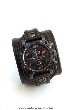 Men's watch, Leather Cuff Watch, Wrist Watch, Leather, Leather Cuff, Bracelet Watch, Watch Cuff, Dark Brown