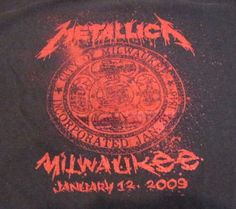2009 Metallica Show Your Scars Milwaukee Wisconsin Tour Concert Shirt Large