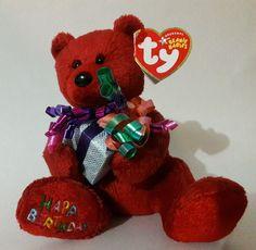TY Beanie Baby HAPPY BIRTHDAY Bear 2004 Present & Bows Hang Tush tag #Ty