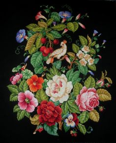 """""""Victorian fire screen with a parrot"""" Cross-stitch chart. The design of the panel is based on the Victorian embroideries (Europe, 19 century). Stitch count 338w x 425h., 63 colors, cotton embroidery floss DMC (no blend colors). The striking balance of colour and shape in this embroidery gives it a unique look."""