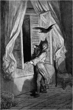 """Nel 1884, Gustave Doré realizzò 26 incisioni per un'edizione illustrata de """"Il Corvo"""" di Edgar Allan Poe.  Godetevi le illustrazioni e una delle più importanti opere poetiche americane gratuitamente sul Progetto Gutenberg http://www.gutenberg.org/ebooks/17192"""