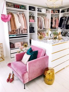 What a lovely dressing room or walk in wardrobe - Home Page Wardrobe Room, Closet Bedroom, Bedroom Decor, Glam Closet, Pink Closet, Luxury Closet, Spare Room Closet, Walk In Closet Ikea, Master Bedroom