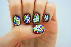 sorelle in style: punk-inspired: graffiti nails Fancy Nail Art, Pretty Nail Art, Beautiful Nail Art, Cool Nail Art, Zebra Nail Art, Abstract Nail Art, Art Nails, Grunge Nail Art, Graffiti Nails