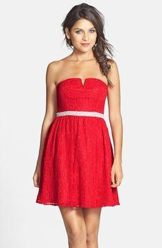 a. drea Embellished Lace Skater Dress (Juniors)