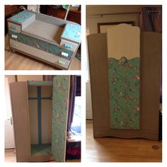 Upcycled dressing table and wardrobe in French linen and old white with next teal wallpaper