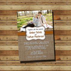 Picture & Burlap Wedding Invitation (digital file)