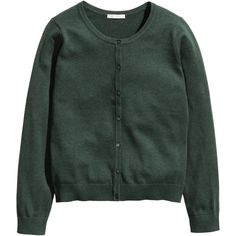 H&M Cotton cardigan (£9.99) ❤ liked on Polyvore featuring tops, cardigans, hm, dark green, dark green cardigan, long sleeve tops, h&m tops, cardigan top and long sleeve cardigan