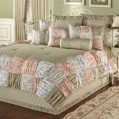 Ashland Ruched Patchwork Comforter Bedding will create a cozy and comfortable look in your bedroom. Oversized, cotton, dash-quilted comforter has a sage. Shabby Chic Bedrooms On A Budget, Shabby Chic Bedroom Furniture, Shabby Chic Chairs, Shabby Chic Kitchen, Shabby Chic Decor, Restoration Hardware Bedding, Patio Interior, Luxury Bedding Collections, Bedroom Colors